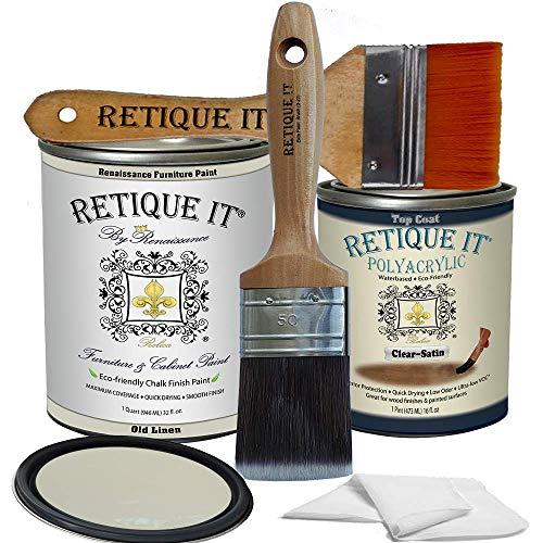 Retique It Chalk Furniture Paint by Renaissance DIY, Poly Kit, 22 Old Linen, 32 Ounces