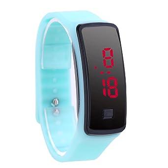 Reloj De Pulsera Demiawaking Moda LED pulsera Relojes digitales Unisex Sports Wristwatch (Cian)