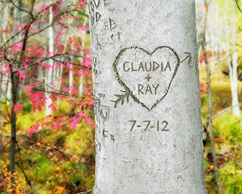 Woodland Carved Heart Tree Personalized Print