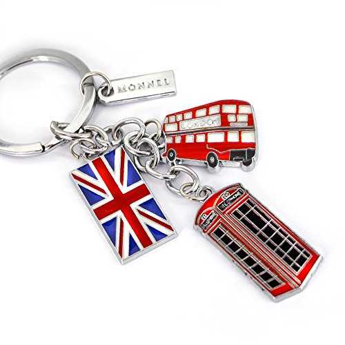 London Red Heart Charm (Monnel New Red London Bus Flag Phone Box Metal Charms Keychain with Velvet Bag Z148-E)