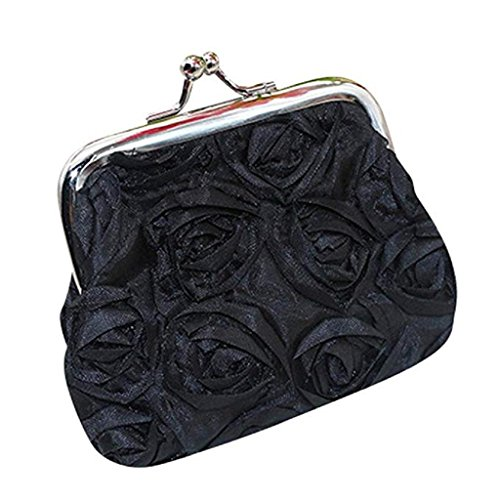2018 Handbag Clutch Bag Noopvan Wallet Flower Purse Coin Womens Wallet Rose Clearance Black Sale Wallet Small Pwv4qEwHAr