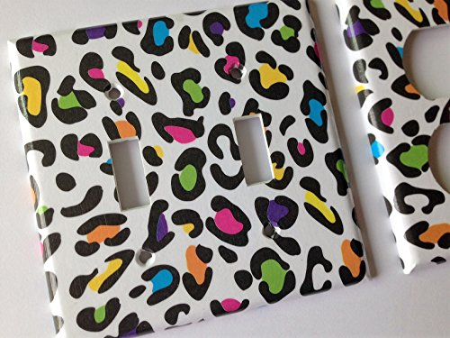 Rainbow Leopard Light Switch Plate Cover - Various Size Switchplates Offered