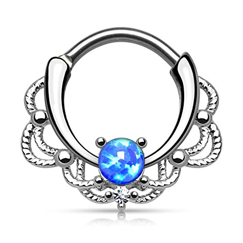Stainless Steel Lacey Single Opal 16g Septum Clicker Ring - Choose Blue, White, Pink or Purple Synthetic Opal (Blue)