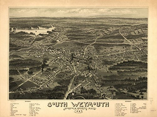 Map: 1885 South Weymouth, Norfolk County, Mass. 1885. From the fair grounds|Massachusetts|South Weymouth|South - North County Map Fair