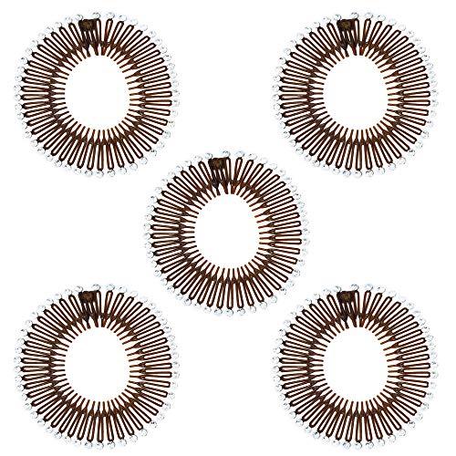 5 pcs set Hair Comb Headbands Stretch Flexible Plastic Circle (Brown with Rhinestone) ()