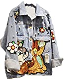 Yayu Womens Hip Hop Patch Sequins Basic Button Down Denim-Jackets Blue XL