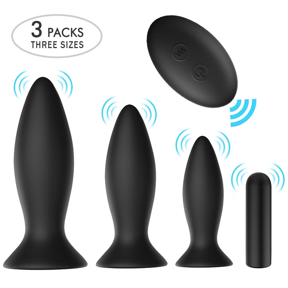 Anal Plug Male Prostate Massager Vibrating Butt Plug 3Pcs Training Kit 9 Vibration Modes with Remote Control Anal Vibrator Sex Toys with Suction Cup Base for Male, Female and Beginner by KUUVAL (Image #1)