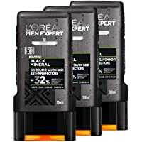 L'Oréal Paris Men Expert Black Mineral Duschgel für Herren, 300 ml, 3er Set