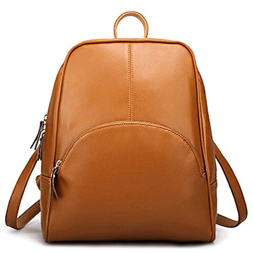for Backpack Bag Ladies Shoulder Bag Casual Girls School Pu Leather Women's Purse Brown ELOMBR P5wxU5