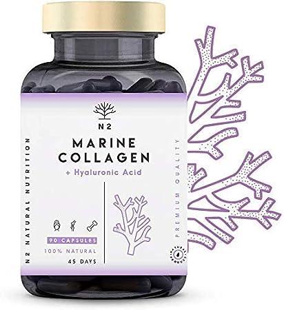 N2 Colágeno Marino Hidrolizado Magnesio Acido Hialurónico Vitamina C Suplemento Articulaciones, Piel Huesos. Colageno PEPTAN 90 Cápsulas de Clorofila. Alta Concentración, 63 g