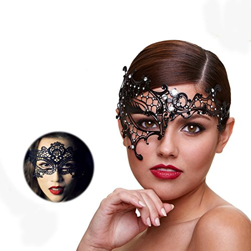 Masquerade Mask For Women Ultra Light Shiny Metal Rhinestone Venetian Pretty Party Evening Prom Ball Mask Luxury Metal Mask Come With Free Lace Mask (Half (Masquerade Ball Party Mask)