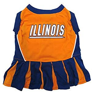 Pets First Collegiate Illinois Fighting Illini Dog Cheerleader Dress, Medium