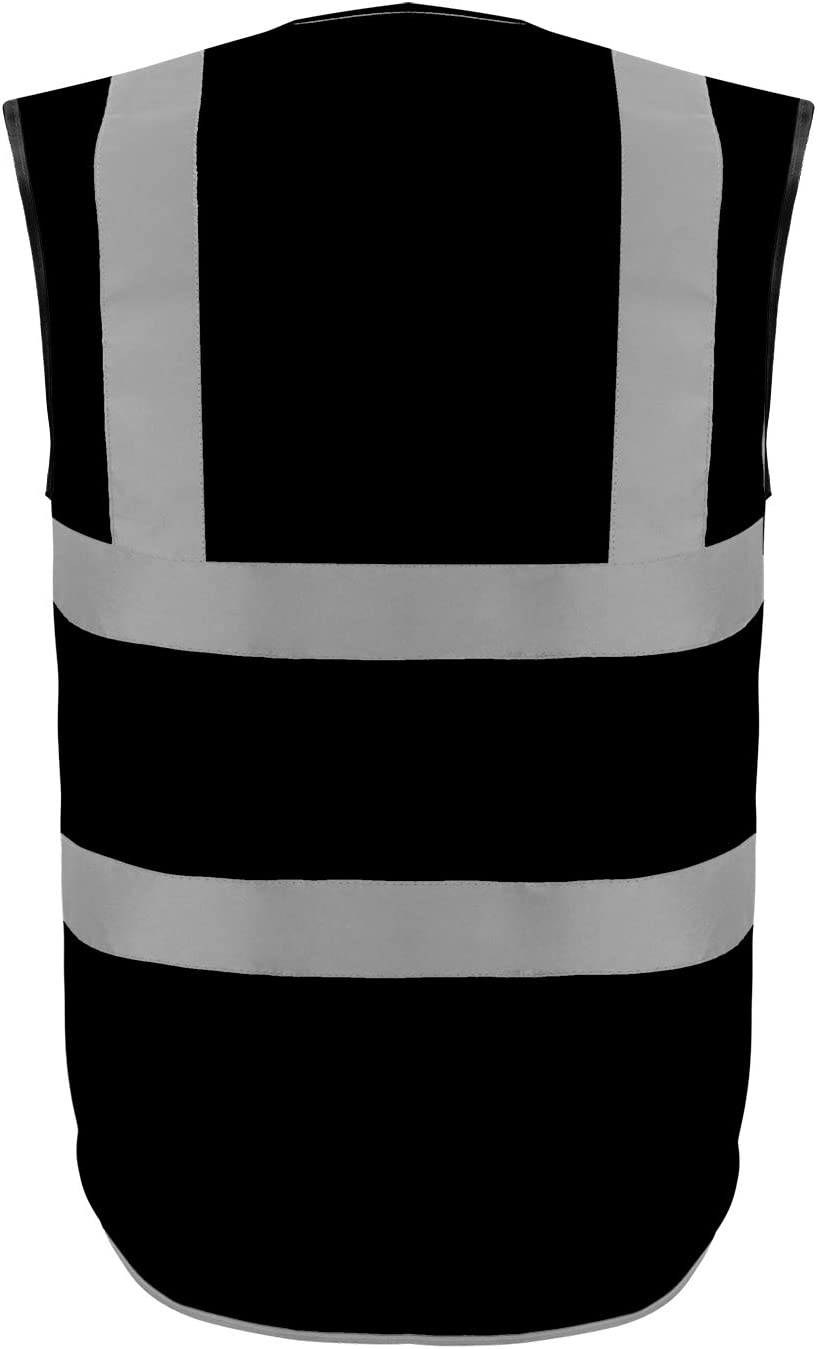Safety Vest Reflective stripes Safety knitted Vest Bright Construction Workwear for men and women. Extra Large, Black