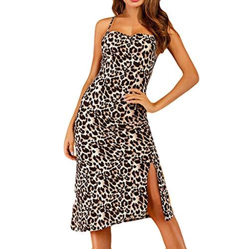 (Women's Sleeveless Sweetheart Flared Mini Dress Leopard Print Tube top Open Back Fork Hip Strap Dress Coffee)