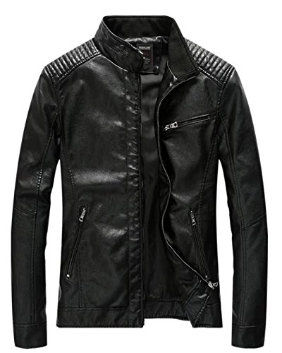 Leather Straight Collar Coat (T-Dream Men's PU Faux Leather Motorcycle Jacket Vintage Stand Collar Motor Coat Black X-Large)