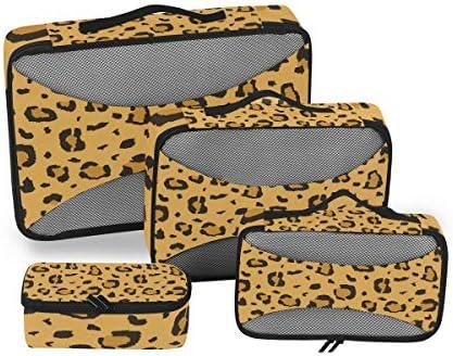 アフリカのチーターヒョウ柄 荷物パッキングキューブオーガナイザートイレタリーランドリーストレージバッグポーチパックキューブ4さまざまなサイズセットトラベルキッズレディース