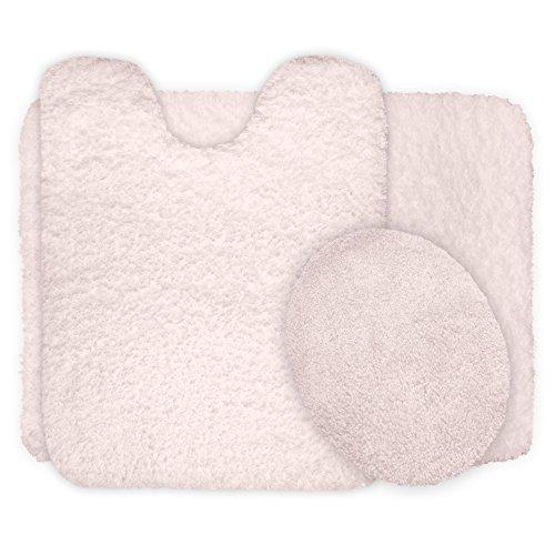 Lavish Home 3-Piece Super Plush Non-Slip Bath Mat Rug Set, Ivory