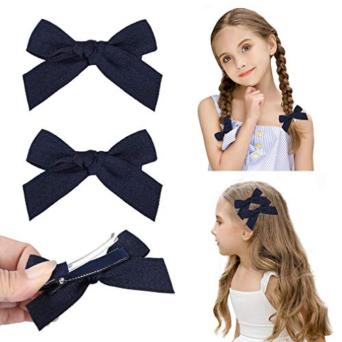 Girls With Blue Hair (DEEKA 2 Pack Hair Clip Hair Bows Fringe Clip for Little Girls - Solid Navy)