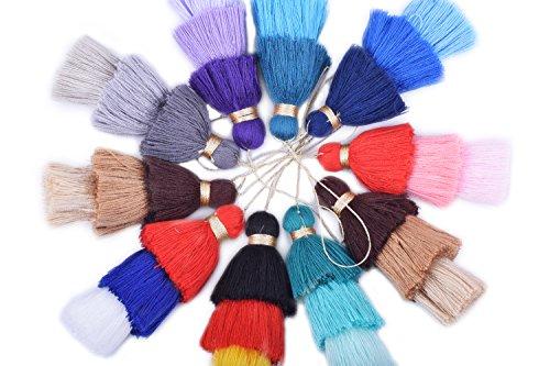 KONMAY Bulk 20pcs Tri-Layered Tassels with Hanging Loop for Jewelry Making, - Layered Tassel