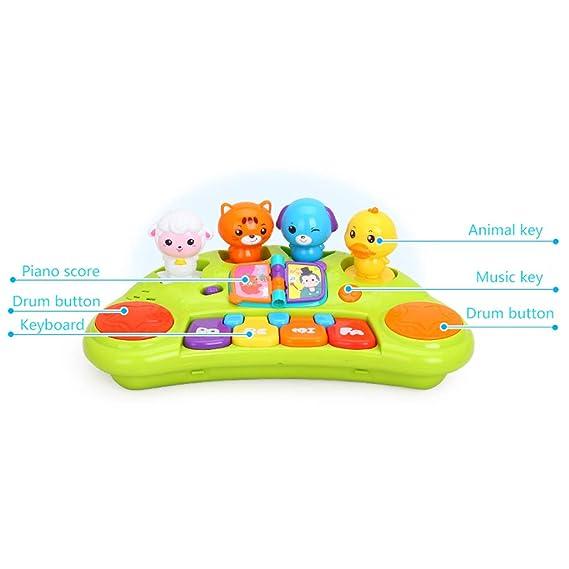 LIUFS-El teclado Dibujos animados Animal Piano Teclado Música Piano Juguetes para niños Niños y niñas 3 años de edad (color : Amarillo): Amazon.es: ...