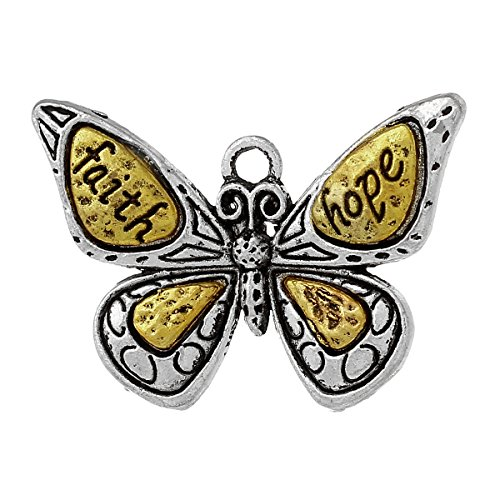Butterfly Charm Pendants Faith & Hope Inspirational Message, 10 Pieces