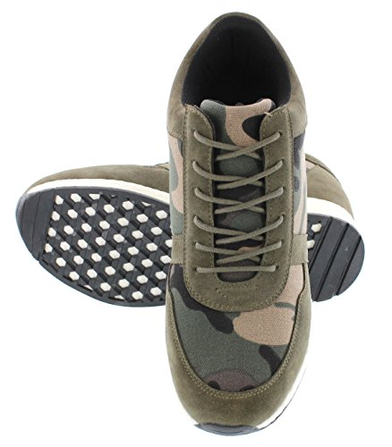 Calto H2241-3.2 Inches Taller - Hoogte Toenemende Liftschoenen - Camo Green Canvas Fashion Sneakers
