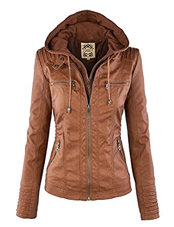 LL Womens Hooded Faux leather Jacket at Amazon Women&39s Coats Shop