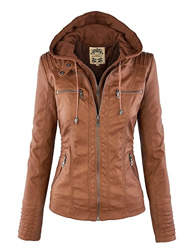 Lock and Love LL WJC663 Womens Removable Hoodie Motorcyle Jacket S Camel