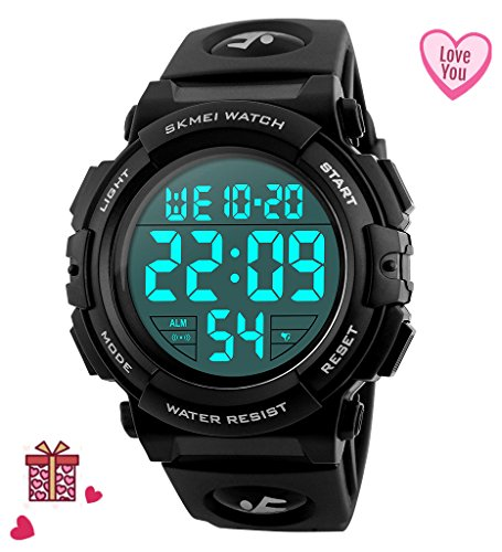 Chronograph Alarm Black Watch (Mens Black Digital Sport Watch - Black Digita Watch for Men for Teen for Boys Sport Outdoor Silicone Watch with 5 ATM Waterproof, Chronograph, Alarm)