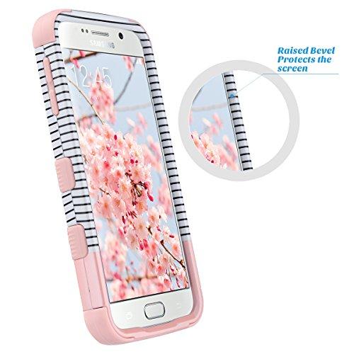 Galaxy S6 Caso, S6 Funda Carcasa, ULAK Híbrido de la manera 3 capa impermeable Silicón suave caso duro de la cubierta de Shell de la PC para la galaxy S6 (mármol gris) rayas mínimas - oro color de rosa