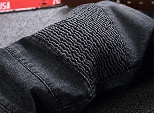 Uomo Skinny Casual Adelina Elasticizzati Pantaloni Motociclista Ufig Da Strappati Abbigliamento Nero Denim wq8ITxq1