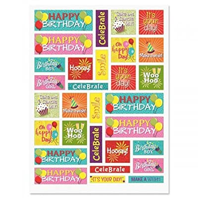 "CURRENT Birthday Words in Squares Stickers - 60 Stickers Two 8-1/2"" x 11"" Sheets, Great for, Teachers, Students, Scrapbooking, and More: Toys & Games"