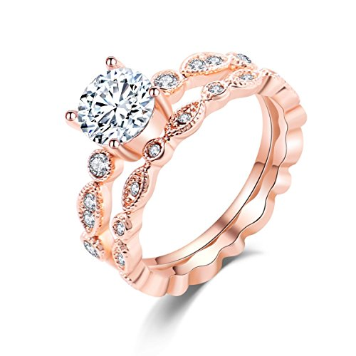 (Vintage CZ Square Halo Set of 2 Stacking Ring 18k Rose Gold Flashed Wedding Women Jewelry Sz 6-8)