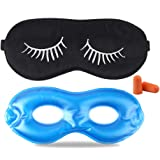 Fitglam Pure Silk Sleep Mask + Reusable Cold/Hot Therapy SPA Gel Eye Mask Set - Improve Sleeping, Alleviate Puffy, Swollen Ey