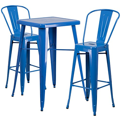 """Flash Furniture 23.75"""" Square Blue Metal Indoor-Outdoor Bar Table Set with 2 Stools with Backs"""