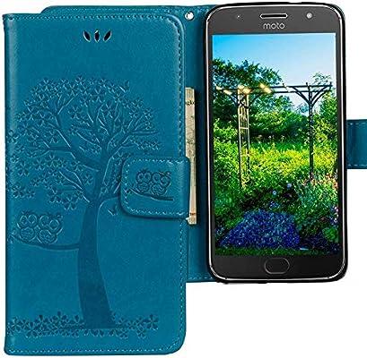 CLM-Tech Funda para Motorola Moto G5S Plus, Carcasa Cuero sintético, Flip Case con Soporte y Ranuras para Tarjetas, Árbol búho Azul