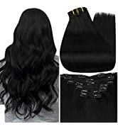 Full Shine Clip in Hair Extensions 24 Inch Jet Black Clip in Hair Extensions Human Hair Color 1 N...