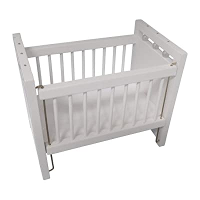 Wooden Dollhouse Miniature White Baby Crib with Padded Mattress 1:12 Scale: Toys & Games [5Bkhe1203097]