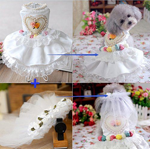 i'Pet Luxury Handmade Doggie Wedding Dress with Pearls + 1 Piece Flowervoice Bridal Veil Elegant Cat Floral Princess Tutu Ball Gown Puppy Multi-layer Lace Skirt Heart-shaped Back Small Dog Party Wear Doggy Photo Apparel Kitty Birthday Mesh Clothes Holiday Wear Halloween Classics Collection Costume (White, (5 Below Halloween Costumes)