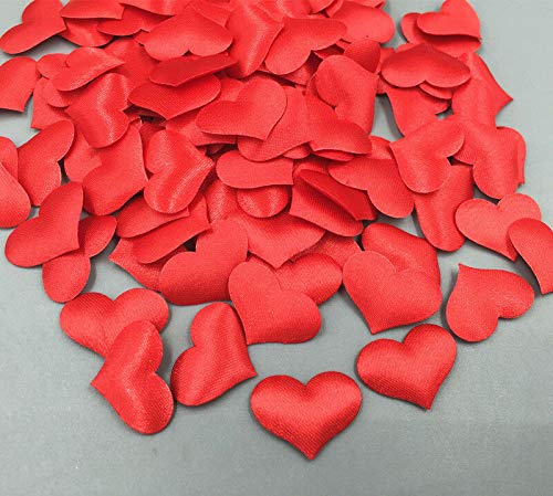- 100pcs red Satin Applique Hearts Weddings Decoration Scrapbooking Sewing 20mm DIY Decor Shirt