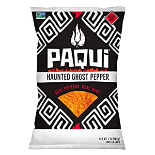 Paqui Spicy Hot Tortilla Chips, Gluten Free Snacks, Non-GMO, Haunted Ghost Pepper, (5 Count) (7 Ounce) Grocery Sized Bags
