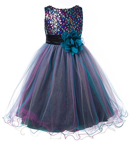 Sequined Bodice (OLIVIA KOO Multi Sequined Bodice with Double Tulle Skirt Flower Girl Dress TEAL)