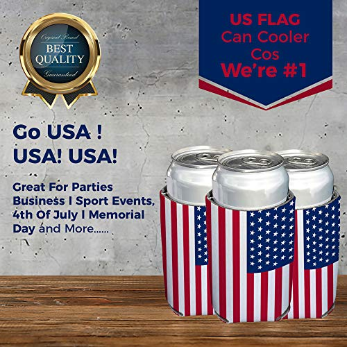 Neoprene Can Cooler Sleeve Collapsible Coolie Economy Bulk Insulation with Stitches Perfect 4 Events,Custom DIY Projects Variety of Colors (6, USA Flag) by QualityPerfection (Image #8)