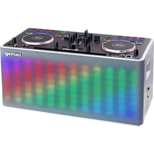 Gemini MIX2GO Professional Audio Ultimate Performance Machine Full DJ Controller and Mixer with Bluetooth Compatibility and Light Show Capabilities