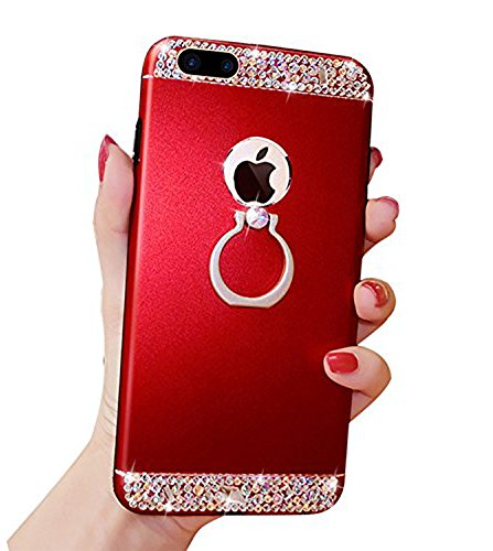 iPhone 6 Plus 6s Plus Case, Black Lemon Bling Glitter Crystal Rhinestone + Metal Bumper Armor All Around Protection Hybrid Case + 360 Degree Rotation Ring Kickstand for iPhone 6/6S Plus (Cute Red Crystal)
