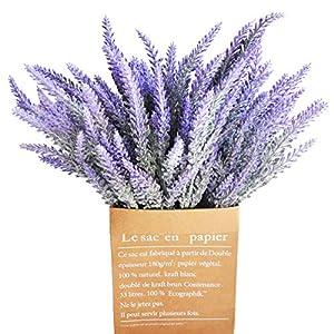 cn-Knight Artificial Flower 12pcs 15'' Faux Lavender with 5 Sub-Stems Fake Flower Lavandula for Wedding Bridal Bouquet Bridesmaid Groomsman Corsage Home Décor Office Baby Shower Centerpiece(Purple) 44