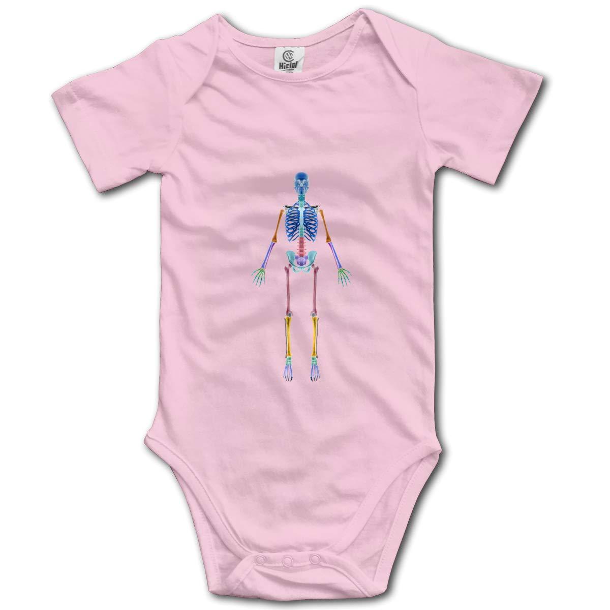Volunteer 3D Colorful Skeleton Boys /& Girls Black Short Sleeve Romper Bodysuits for 0-24 Months