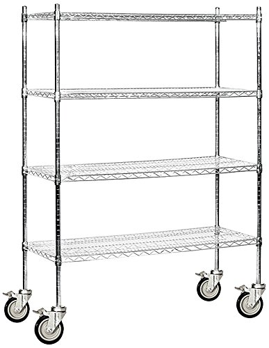 Salsbury Industries Mobile Wire Shelving Unit, 48-Inch Wide by 69-Inch High by 18-Inch Deep, Chrome Mobile Wire Shelving Unit