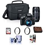 Canon EOS Rebel T6 DSLR 2 Lens Camera Kit with EF-S 18-55mm f/3.5-5.6 IS II and EF 75-300mm F4-5.6 III Lens - BUNDLE w/Camera Bag, 16GB SDHC Card, 2x 58mm UV Filters, Cleaning Kit, Software Package