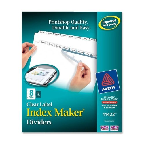Wholesale CASE of 10 - Avery Index Maker Copier Clear Label Dividers-Label Dividers, Punched, Reinforced Edge, 8-Tab, 5 ST/PK, WE